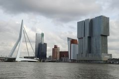 De Rotterdam building and the Erasmus bridge, the Netherlands Stock Photo