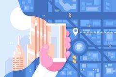 De route die van mensenpercelen smartphone app gebruiken stock illustratie