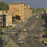 De route de mouvement le centre ville dedans de la ville Salamanque, Espagne Images stock