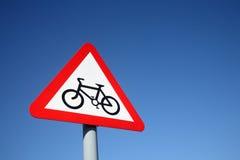 De route van de cyclus ondertekent vooruit. stock afbeeldingen