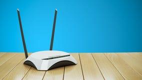 De router van Internet WiFi op houten lijst Stock Foto's
