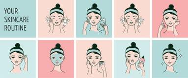 De routine van de huidzorg, vrouwengezicht met een verschillende gezichtsproceduresbanner Stock Foto