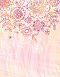 De roze achtergrond met hand trekt bloemen stock illustratie