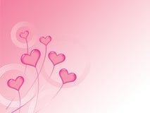 De roze Achtergrond van de Harten van Valentijnskaarten Stock Afbeeldingen