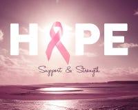 De roze achtergrond van de kankervoorlichting van de hoopborst Stock Afbeeldingen
