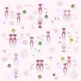 De roze achtergrond van de kattendecoratie Stock Afbeeldingen