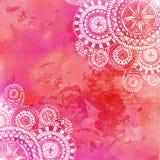 De roze achtergrond van de waterverfverf met witte hand royalty-vrije illustratie