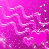 De roze Achtergrond van Harten en van Fonkelingen Stock Fotografie