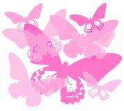 De roze Achtergrond van het Silhouet van de Vlinder Stock Fotografie