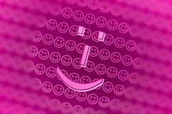 De roze achtergrond van het smileygezicht Stock Foto
