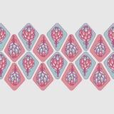 De roze blauwe vector naadloze grens van de artisjokbloem royalty-vrije illustratie