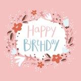 De roze bloemenkaart van de verjaardagsgelukwens Stock Afbeeldingen