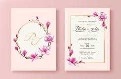 De roze bloemenkaart van de huwelijksuitnodiging Vector Roze bloeiende magnoliabloem Royalty-vrije Stock Fotografie