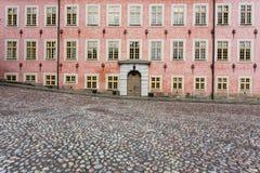De roze bouw en cobblestoned weg stock fotografie