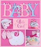 De roze Collage van het Babymeisje Royalty-vrije Stock Afbeelding