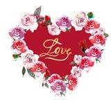 De roze die kroon van de hartbloem met waterverfrozen en rosebuds en woordliefde, op witte achtergrond wordt geïsoleerd royalty-vrije illustratie