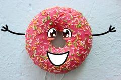 De roze doughnut met bestrooit op witte geweven achtergrond Stock Afbeelding