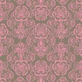 De roze en Bruine Grungy Uitstekende achtergrond van de Bloem Stock Fotografie