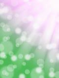 De roze en groene achtergrond van de lente abstracte bokeh met lichte stralen en zonvlekken Stock Foto's