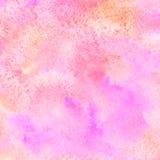 De roze en oranje vierkante achtergrond van waterverfvlekken vector illustratie