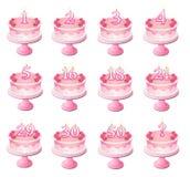 De roze Genummerde Cakes van de Verjaardag Stock Fotografie