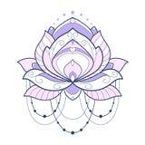 De roze geometrische vectorillustratie van de lotusbloembloem is geïsoleerd op een witte achtergrond Symmetrisch decoratief eleme royalty-vrije illustratie