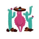 De roze getrokken vectorillustratie van de alpacababy hand Lama of alpaca de druk clipart ontwerpt voor kinderdagverblijfontwerp, stock illustratie