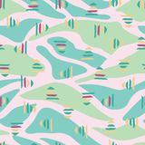 De roze groene abstracte achtergrond van het landschaps naadloze patroon stock illustratie