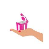 De roze in hand vector van de doosgift Stock Foto