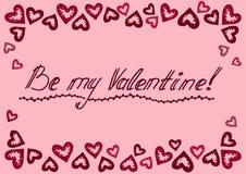 De roze kaart van de de Daggroet van Valentine ` s stock illustratie