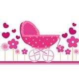 De roze kaart van de baby vector illustratie