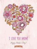 De roze kaart van de Moedersdag met groot hart van de lentebloemen, vector Stock Foto