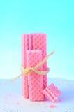 De roze Koekjes van het Wafeltje van de Suiker stock afbeeldingen