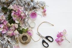 De roze lokale flora van bloemenbougainvillea van Azië op wit royalty-vrije stock fotografie