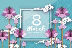 De roze Lotus Floral Greeting-kaart in document sneed stijl 8 Maart De gelukkige Dag van de Vrouwen` s Moeder ` s De bloem van de royalty-vrije illustratie