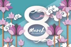 De roze Lotus Floral Greeting-kaart in document sneed stijl 8 Maart De gelukkige Dag van de Vrouwen` s Moeder ` s De bloem van de vector illustratie