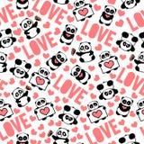 De roze, mooie en romantische hand getrokken panda's met harten houden vector van het typografie de ontwerp van herhaalde patroon Stock Afbeelding