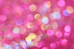 De roze, purpere, witte, gele en turkooise zachte lichten vatten achtergrond samen Royalty-vrije Stock Fotografie