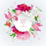 De roze, rode en witte zomer bloeit gretting kaart met document labe vector illustratie