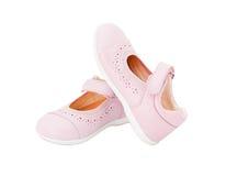 De roze schoenen van de leerbaby Stock Afbeelding
