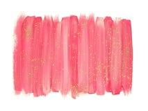 De roze slagen van de waterverfborstel met goud schitteren royalty-vrije stock afbeeldingen