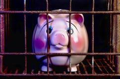 De roze Straf van het Spaarvarken stock afbeeldingen