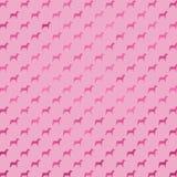 De roze van de de Folie Metaalhond van Hondenfaux Polka Dots Purple Background Pattern Stock Afbeeldingen