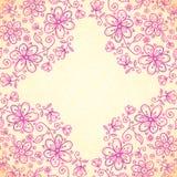 De roze vectorachtergrond van krabbel uitstekende bloemen Stock Foto