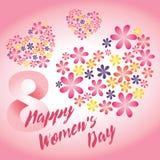 De roze vectorkaart van de vrouwen` s dag stock afbeeldingen