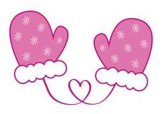 De roze Vuisthandschoenen van Sneeuwvlok Vrolijke Kerstmis Royalty-vrije Stock Fotografie
