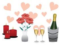 De rozen en de kaarsen van Champagne Stock Foto