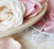 De rozen en het kant Stock Fotografie