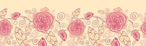 De rozen horizontaal naadloos patroon van de lijnkunst Royalty-vrije Stock Afbeelding