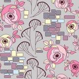 De rozen op een naadloze bakstenen muur pattren Royalty-vrije Stock Afbeeldingen
